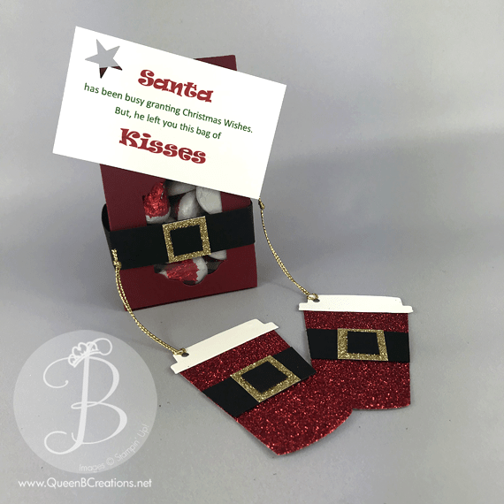 Stampin' Up! Coffee Cup Framelit dies Christmas Tags Santa Suit with Santa Kisses by Queen B Cretaions