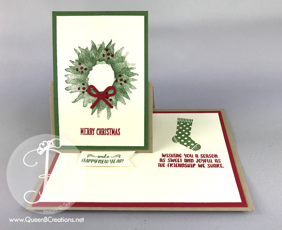 stampin up painted harvest wreath half easel card by lisa ann bernard of queen b creations
