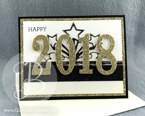 stampin up large number framelit dies happy new year 2018 glitter handmade card by