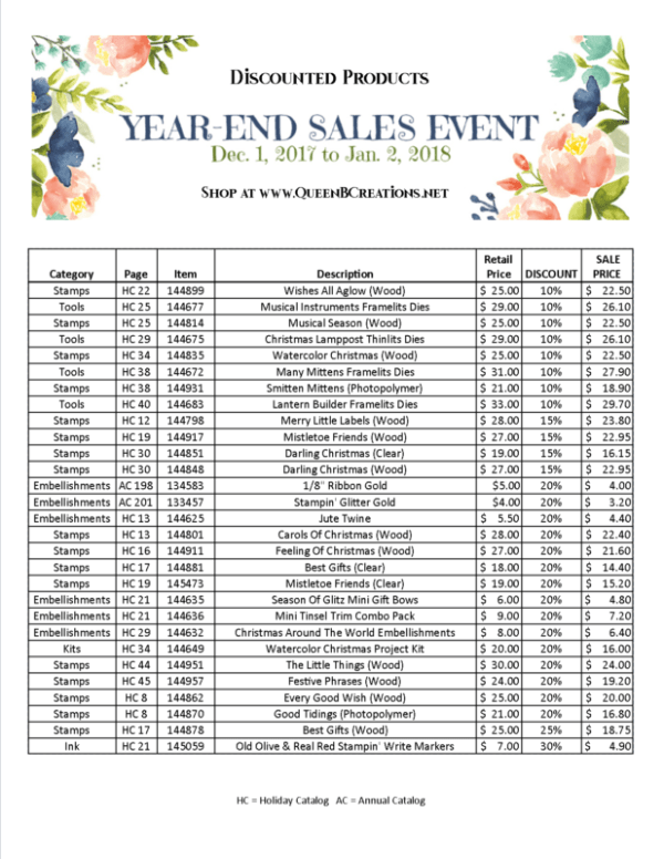 Stampin' Up! Year end Sales Event 2017