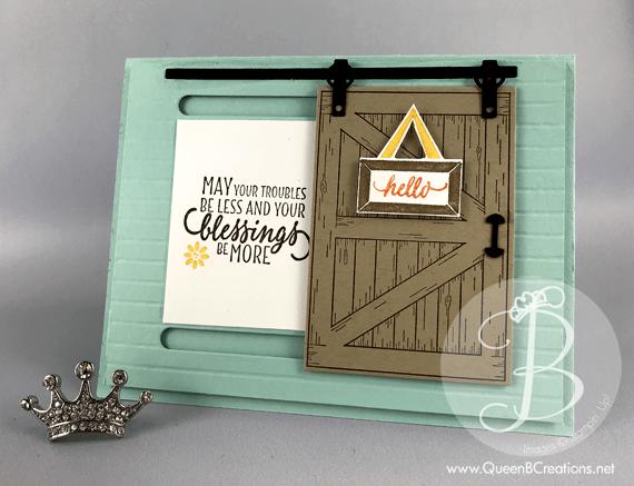 st&in up sliding barn door hand st&ed card with a moving door made by Lisa Ann & Barn Door - Sliding Door Card | Queen B Creations
