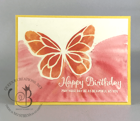 Handmade Happy Birthday card made using Stampin' Up! Beautiful Day with white heat embossed butterfly by Lisa Ann Bernard of Queen B Creations