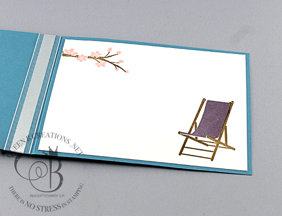Stampin' Up! Colorful Seasons Adirondack Chair with ribbon on a sponged circle by Lisa Ann Bernard of Queen B Creations