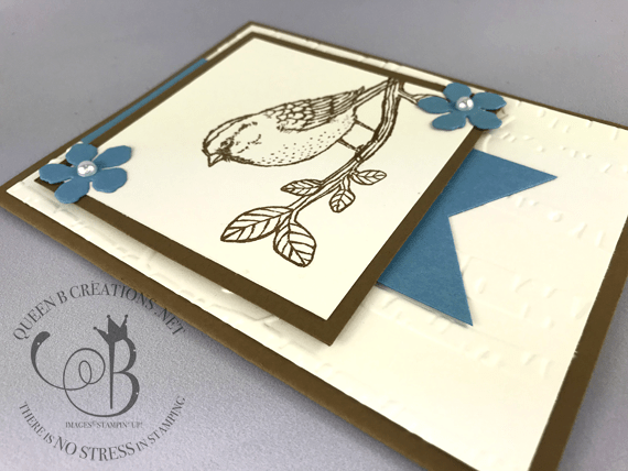 Handmade birthday card made with Stampin' Up! Best Birds, Tripple Banner Punch and the Woodland TIEF by Lisa Ann Bernard of Queen B Creations