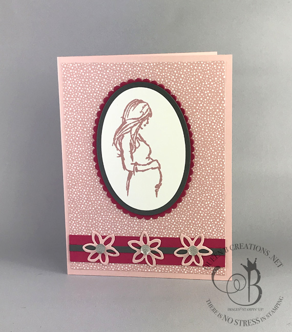 Stampin Up Wonderful Moments stamp set Tropical Chic DSP New Baby card upright by Lisa Ann Bernard of Queen B Creations