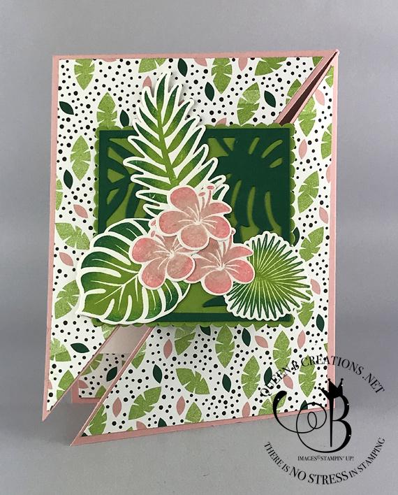 Stampin' Up! Tropical Chic diagonal gate fold fancy fold technique handmade card by Lisa Ann Bernard of Queen B Creations