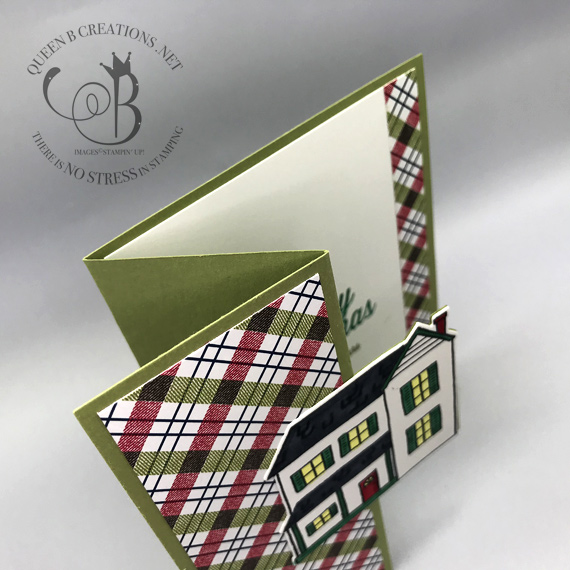 Stampin' Up! Festive Farmhoue Bundle Under The Mistletoe DSP handmade Christmas card using a fancy fold with an ordinary framelit with video by Lisa Ann Bernard of Queen B Creations