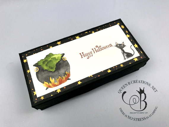 Stampin' Up! Toil & Trouble Halloween BOO box candy holder by Lisa Ann Bernard of Queen B Creations