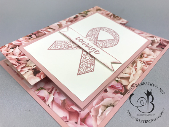 Stampin' Up! Ribbon of Courage handmade card for breast cancer by Lisa Ann Bernard of Queen B Creations