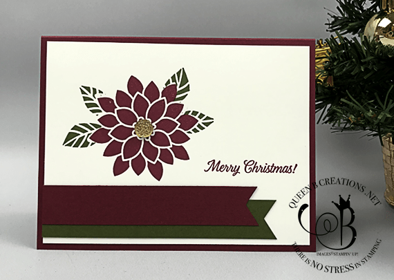 Stampin' Up! Flourishing Phrases Merry Patterns handmade Christmas Card by Lisa Ann Bernard of Queen B Creations