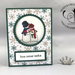 Stampin Up Spirited Snowmen love never melts handmade circle card by Lisa Ann Bernard of Queen B Creations