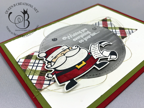 Stampin' Up! Santa's Signpost handmade Christmas card by Lisa Ann Bernard of Queen B Creations