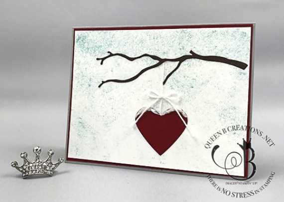 Stampin' Up! Seasonal Layers Thinlits Dies hanging heart in a tree Valentine's Day card by Lisa Ann Bernard of Queen B Creawtions
