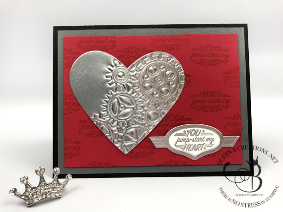 Stampin' Up! Big Shot embossing mats Be Mine Stitched and Garage Gears framelit dies by Lisa Ann Bernard of Queen B Creations