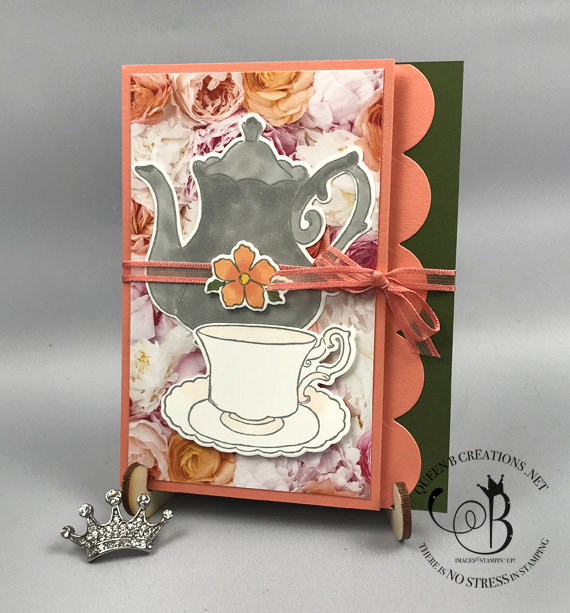 Stampin' Up! Tea Together fancy fold handmade card Petal Promeade DSP by Lisa Ann Bernard of Queen B Creations