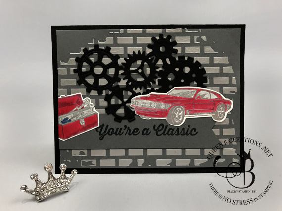 Stampin' Up! Geared Up Garage Silver Embossing Paste Masculine car guy card by Lisa Ann Bernard of Queen B Creations