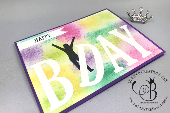 Stampin' Up! Large Letters Enjoy Life colorful sponged background happy birthday card by Lisa Ann Bernard of Queen B Creations