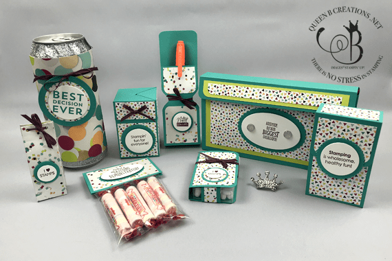 Stampin' Up! Best Decision Ever, Stamping Your Way to the Top, Stampin' Fun for Everyone and Totally Tess stamp sets OnStage2019 gifts for downline by Lisa Ann Bernard of Queen B Creations