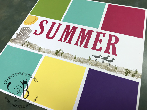 Stampin' Up! bright summer scrapbook layout using high tide pocket full of sunshine and seasonal layers dies by Lisa Ann Bernard of Queen B Creations