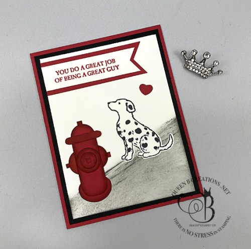 Stampin' Up! Happy Tails for A Good Man punch art fire hydrant and dalmation fireman appreciation handmade card by Lisa Ann Bernard of Queen B Creations