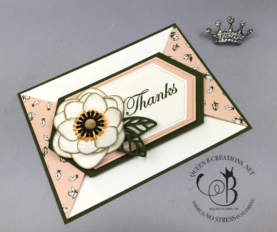 Stampin' Up! Good Morning Magnolia bundle double point fancy fold handmade thank you card by Lisa Ann Bernard of Queen B Creations