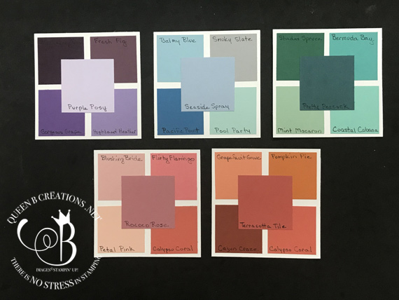 Stampin' Up! 2019-2021 in-color comparison by Lisa Ann Bernard of Queen B Creawtios