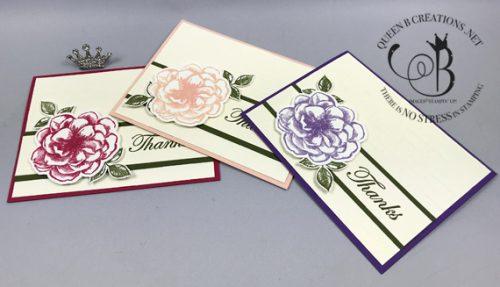 Stampin' Up! thanks card set April 2019 paper pumpkin alternative by Lisa Ann Bernard of Queen B Creations