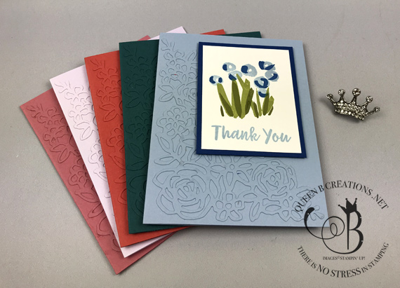 Stampin' Up! 2019-2021 in colors Abstract Impressions handmade thank you card by Lisa Ann Bernard of Queen B Creations