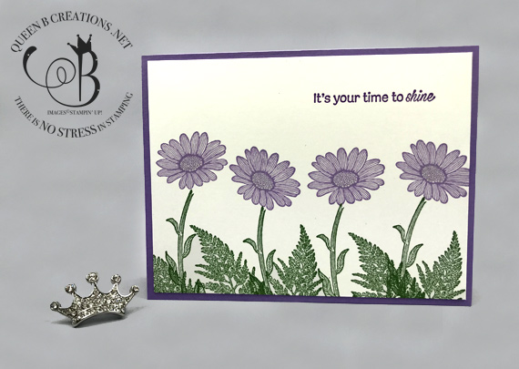 Stampin' Up! Daisy Lane Highland Heather shine handmade card by Lisa Ann Bernard of Queen B Creations