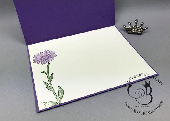 Stampin' Up! Daisy Lane Highland Heather shine handmade card by Lisa Ann Bernard of Queen B Creations