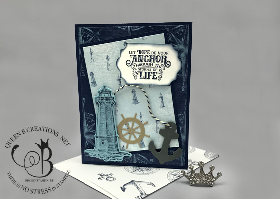 Stampin' Up! Sailing Home handmade nautical lighthouse anchor card by Lisa Ann Bernard of Queen B Creations