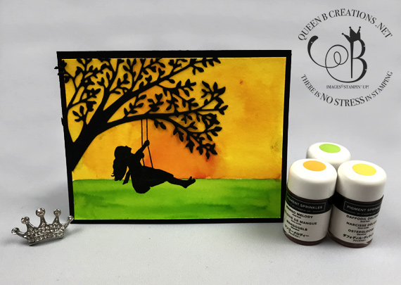 Stampin' Up! Silhouette Scenes buncle and pigment sprinkles handmade card by Lisa Ann Bernard of Queen B Creations