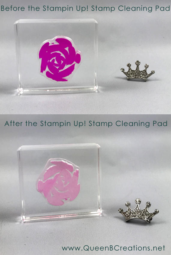 Clean your stamps with the Stampin' Up! stamp cleaner to help remove / prevent stains on photopolymer stamps.