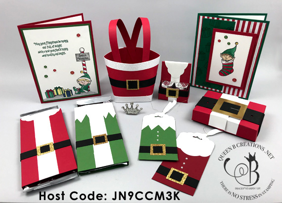 Stampin' Up! #elfie and Santa Suit stocking stuffer gifts online class free pdf with purchase by Lisa Ann Bernard of Queen B Creations - YouTube Video