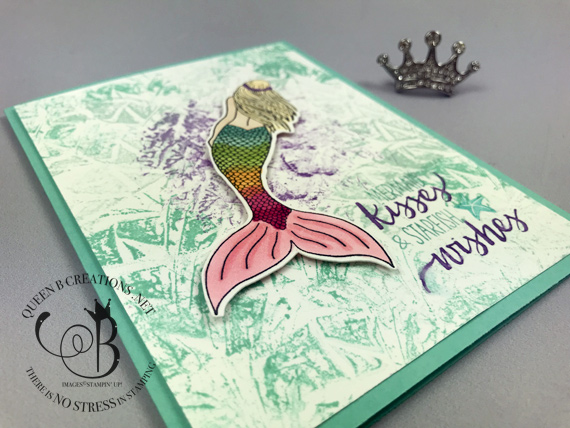 Stampin' Up! Magical Mermaid colored with Stampin' Blends on a plastic wrap smoosh technique background by Lisa Ann Bernard of Queen B Creations
