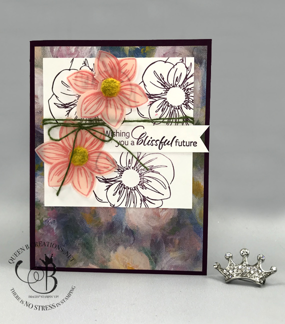 stampin up foral essence perennial essence DSP handmade card by Lisa Ann Bernard of Queen B Creations