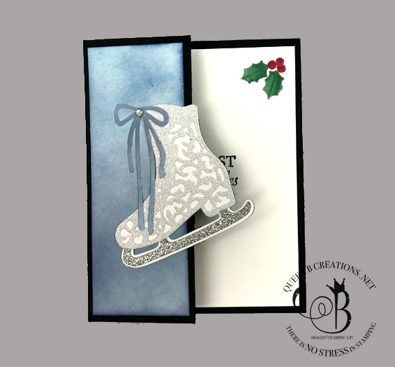 Stampin' Up! Free Skate fancy fold Christmas card by Lisa Ann Bernard of Queen B Creations