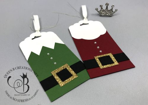 Stampin' Up! Santa and Elf Christmas Tags by Lisa Ann Bernard of Queen B Creations