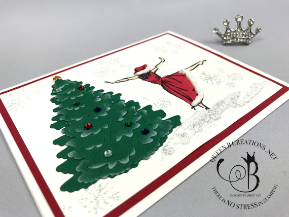 Stampin' Up! Beautiful You Santa girl in the woods dies handmade Christmas card by Lisa Ann Bernard of Queen B Creations