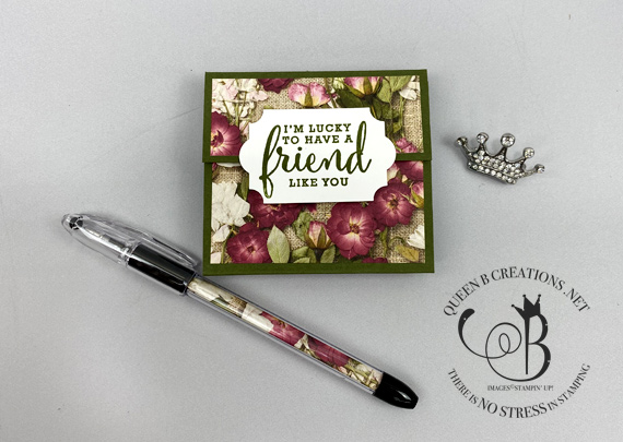 Stampin' Up! Post It Note Holder with matching pen made by Lisa Ann Bernard of Queen B Creations