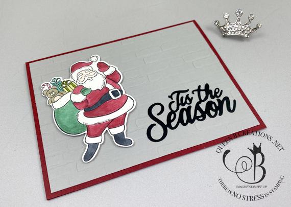Stampin' Up! Holly Jolly Santa Bricks and Mortar Christmas Card by Lisa Ann Bernard of Queen B Creations