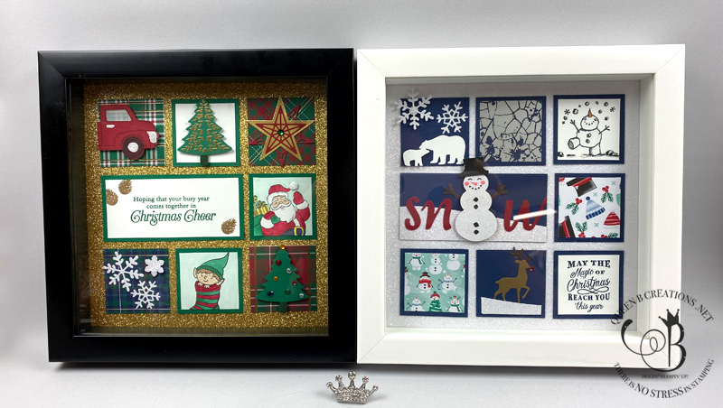 Stampin' Up! Winter and Christmas framed samplers home decor by Lisa Ann Bernard of Queen B Creations
