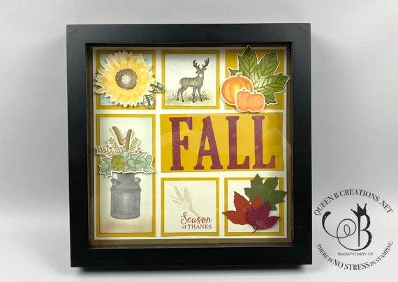 "Stampin' Up! 8"" x 8"" framed sampler home decor for Fall/Autumn by Lisa Ann Bernard of Queen B Creations"