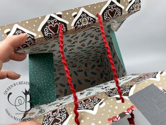 Stampin' Up! designer series paper house gift bag by Lisa Ann Bernard of Queen B Creations