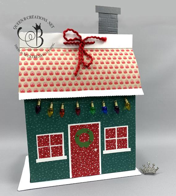 Stampin' Up! designer series paper house gift bag by Lisa Ann Bernard of Queen B Creations