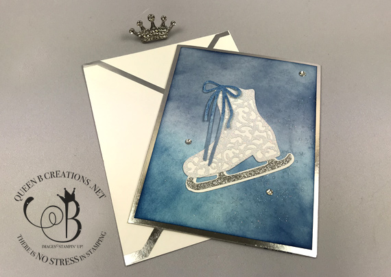 Stampin' Up! Free Skate Detailed Skate Ice Skating handmade winter card by Lisa Ann Bernard of Queen B Creations