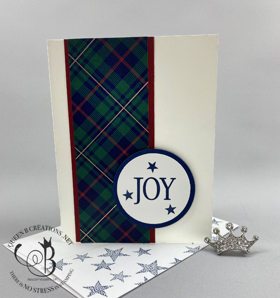 Stampin' Up! So Many Stars Plaid Joy Christmas card by Lisa Ann Bernard