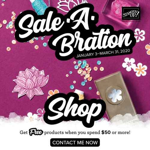 Stampin' Up! Sale-A-Bration 2020 Shop and Earn at www.QueenBCreations.net