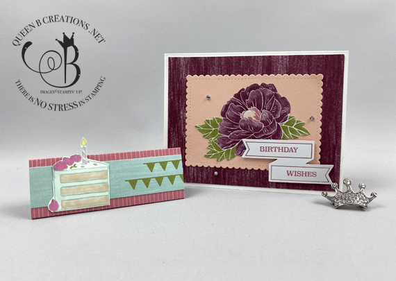 Stampin' Up! February 2020 Lovely Day Paper Pumpkin alternatives birthday card and hershey kiss tent by Lisa Ann Bernard of Queen B Creations