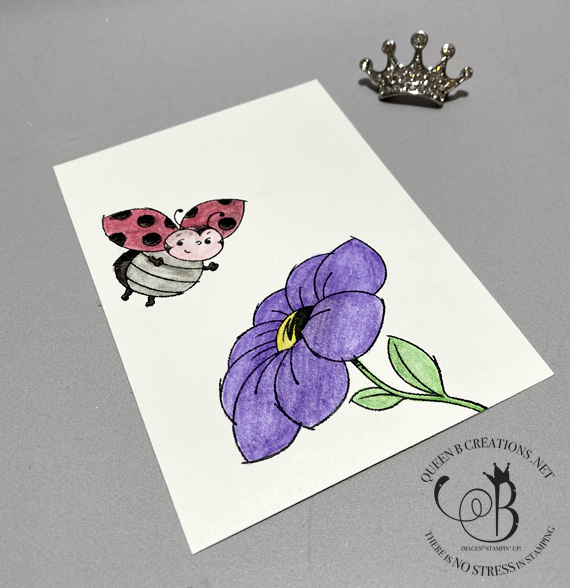 Stampin' Up! Little Ladybug watercolor pencils with blender pen by Lisa Ann Bernard of Queen B Creations